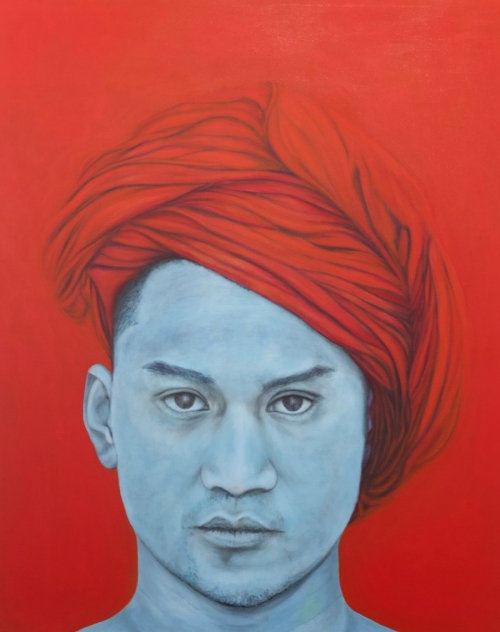 Red Turban, oil on canvass, 60x48, 2021 by Cesar Conde